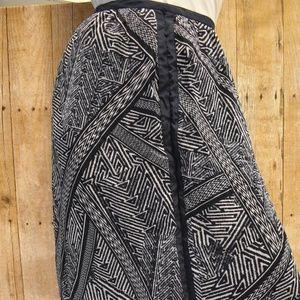 Adrianna Papell Navy Ikat Print Maxi Skirt